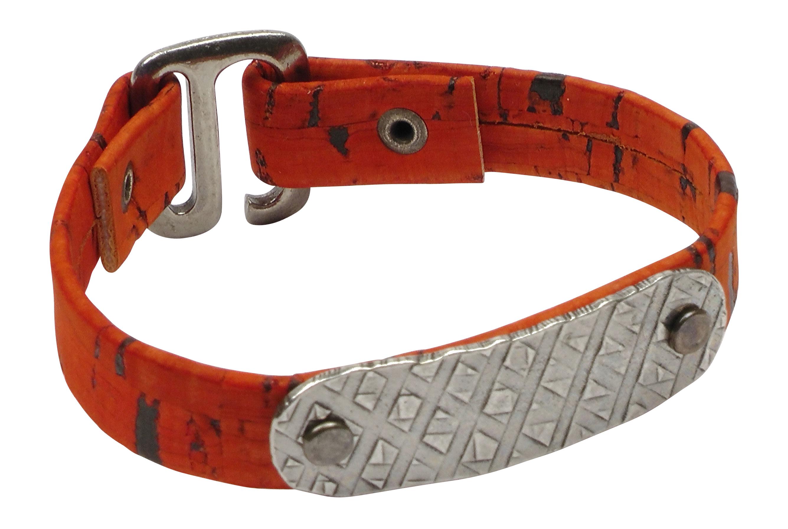 Orange Id Bracelet Portuguese Cork Cord Bracelet