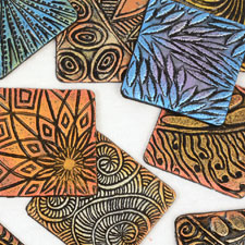 Helen Breil textured clay stamps for jewelry Making