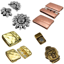 Regaliz Flat leather clasps for jewelry making